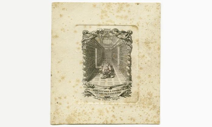 Ältestes Exlibris der Christianeumsbibliothek, datiert auf 1745